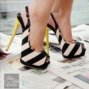 Giuseppe Zanotti striped canvas snakeskin heels